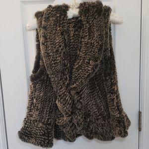 Saks Fifth Avenue Fur Vest Brown Black NWOT